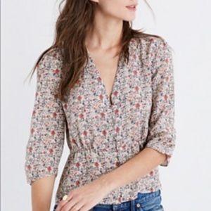 Madewell floral silk shadowpetal blouse